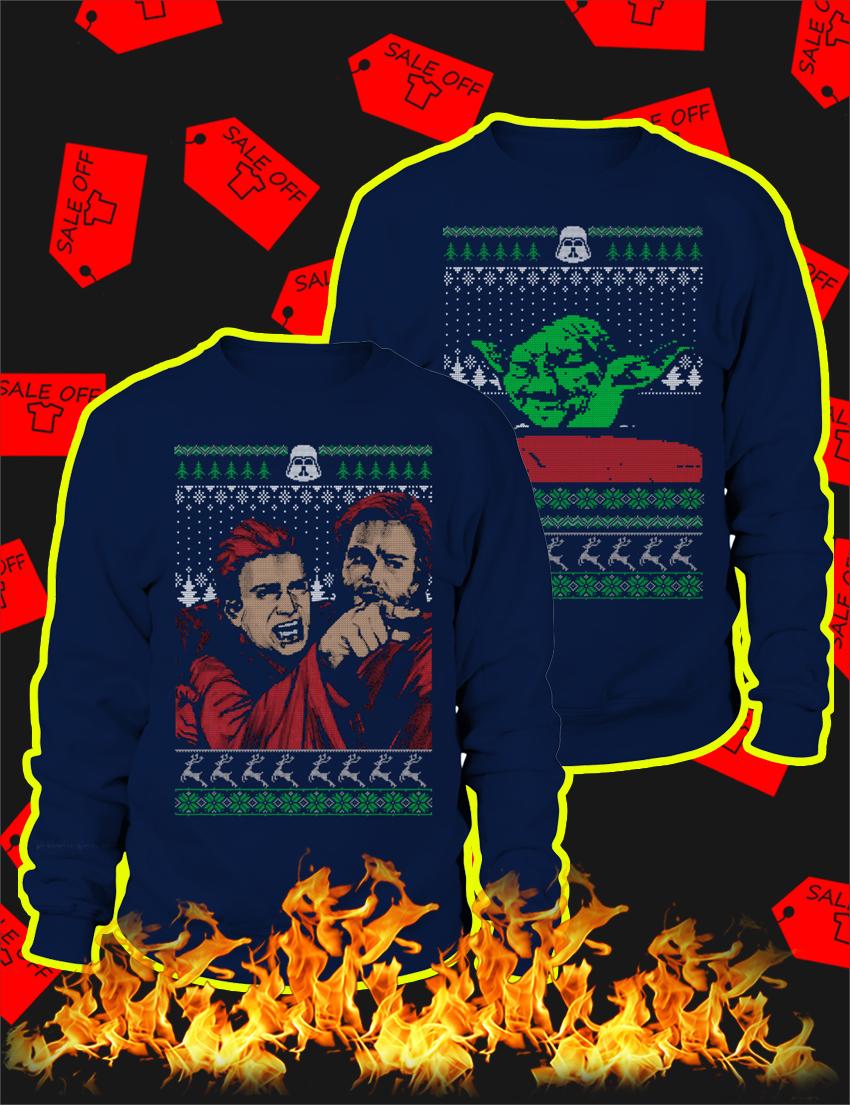 Couple Angry Anakin Yelling At Yoda Ugly Christmas Sweater-navy
