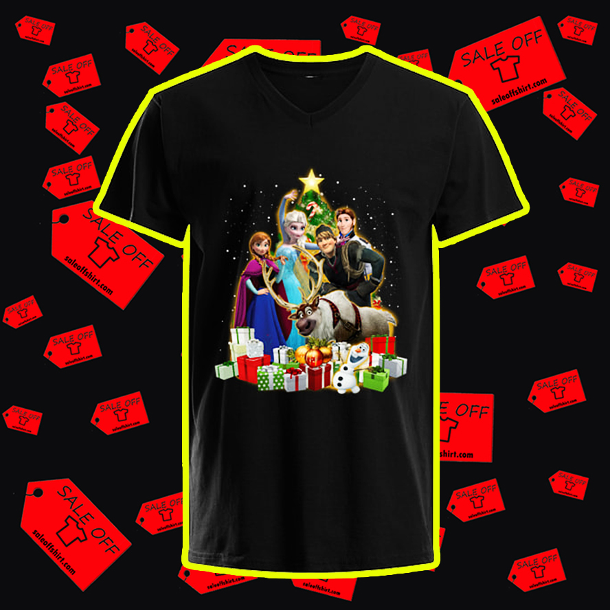 Frozen Characters Christmas Tree v-neck