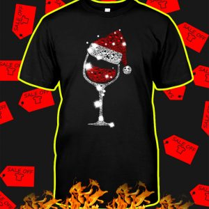 Glitter Wine Glass Santa Christmas shirt