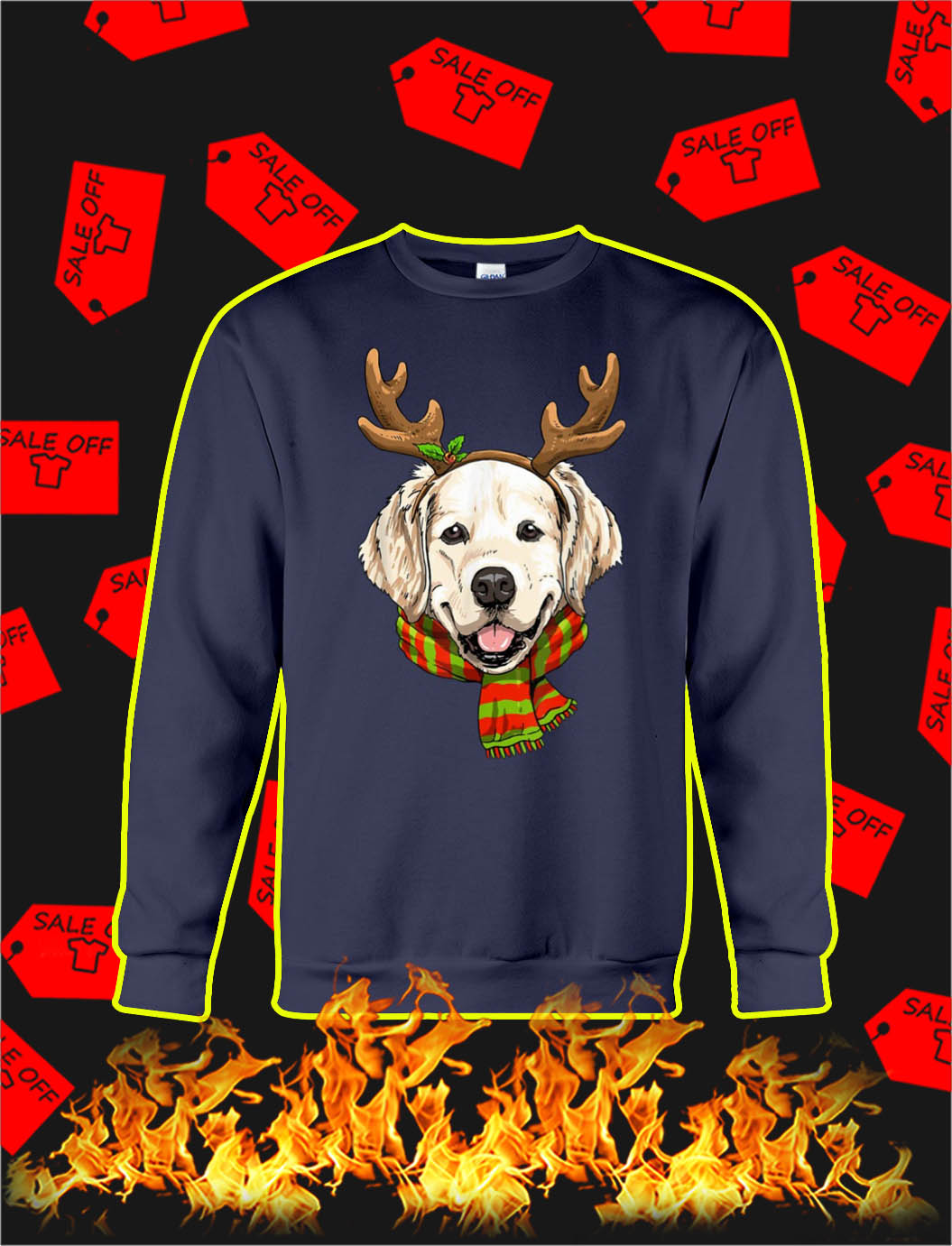 Golden Retriever Reindeer Christmas sweatshirt