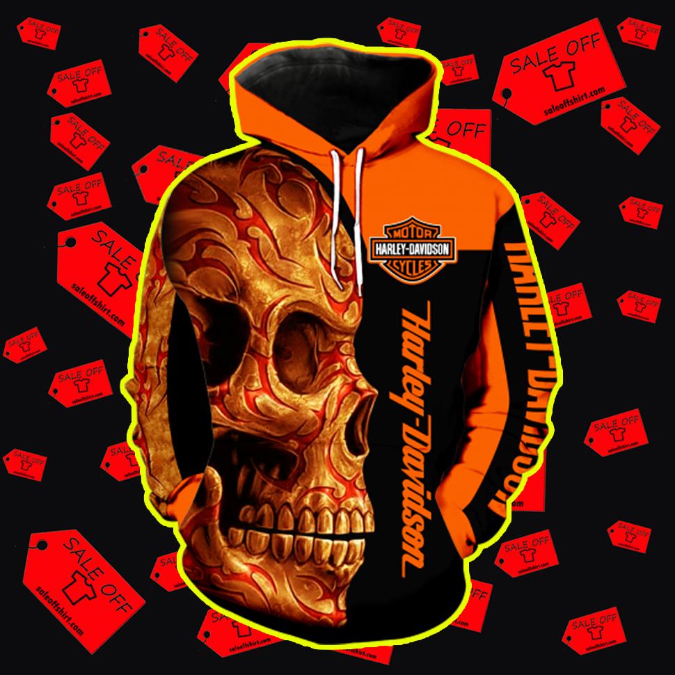 Harley-Davidson Skull Full All Over Print 3d Hoodie