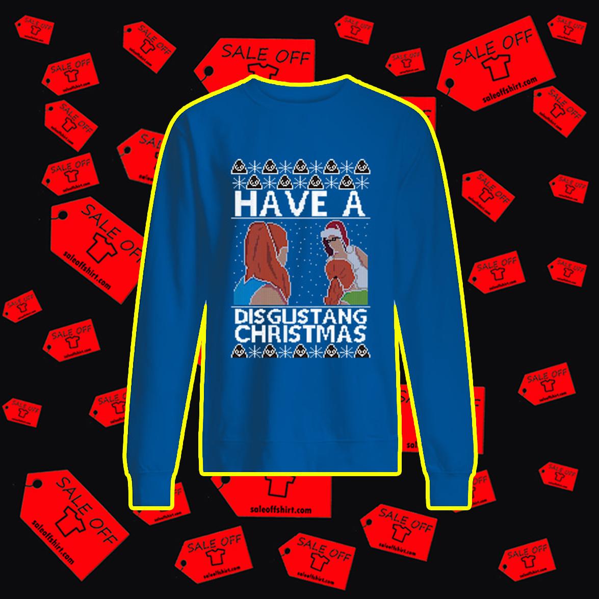 Have a disgustang christmas ugly sweater- blue