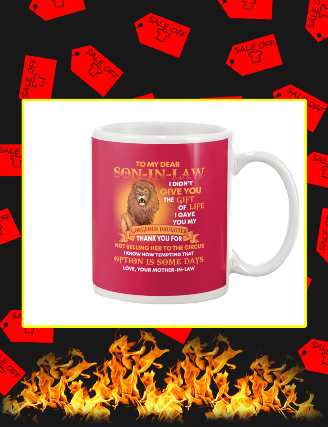 Lion To My Dear Son In Law Mug- true red