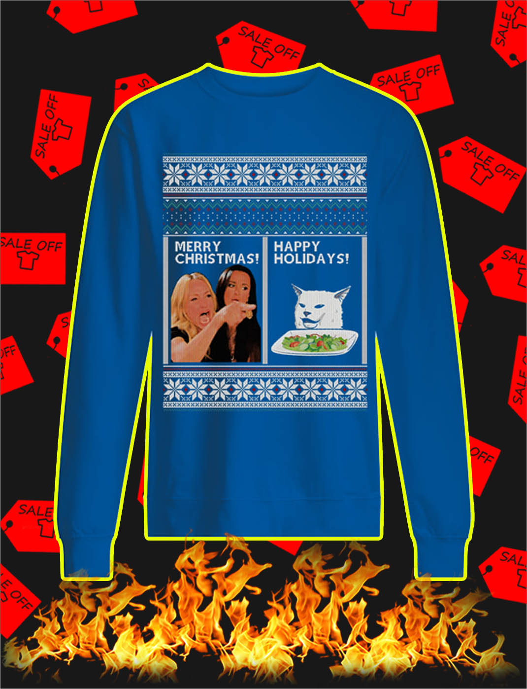 Merry Christmas Happy Holidays Woman Yelling Cat Meme Ugly Christmas Sweater- blue