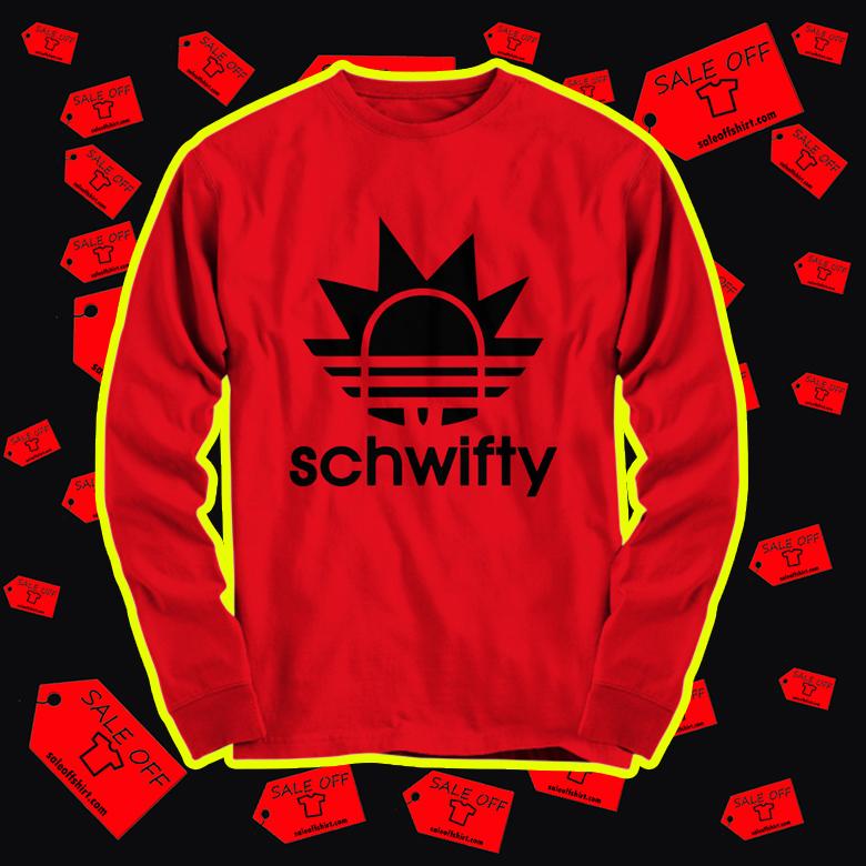 Schwifty Rick Adidas long sleeve tee