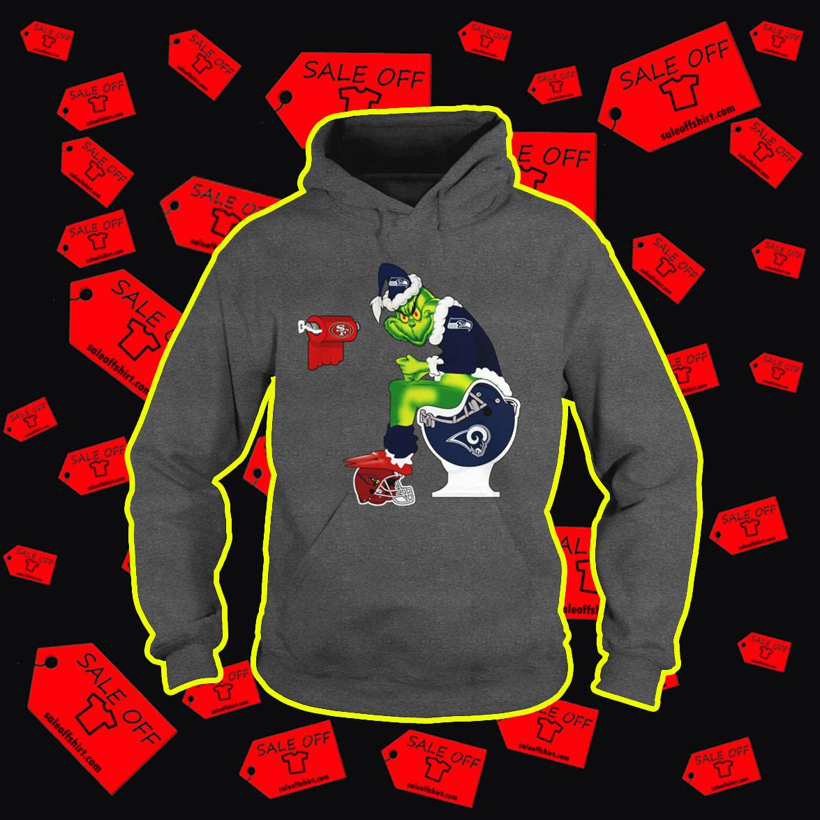 Seahawks Grinch Santa Sitting on Rams Toilet Cardinals 49ers hoodie