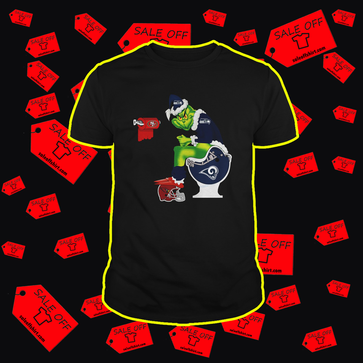 Seahawks Grinch Santa Sitting on Rams Toilet Cardinals 49ers shirt