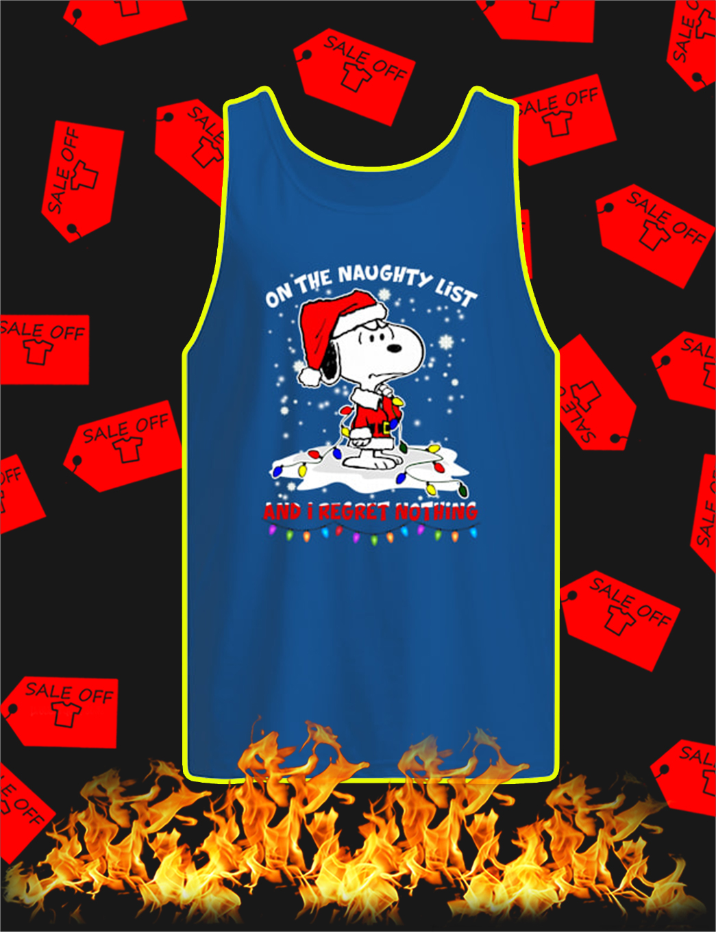 Snoopy On The Naughty List And I Regret Nothing Christmas tank top