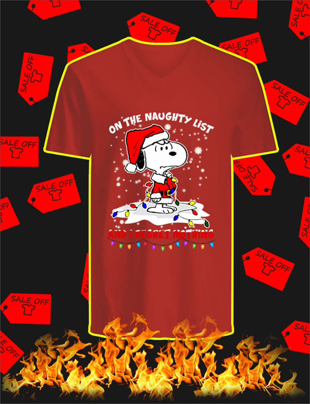 Snoopy On The Naughty List And I Regret Nothing Christmas v-neck