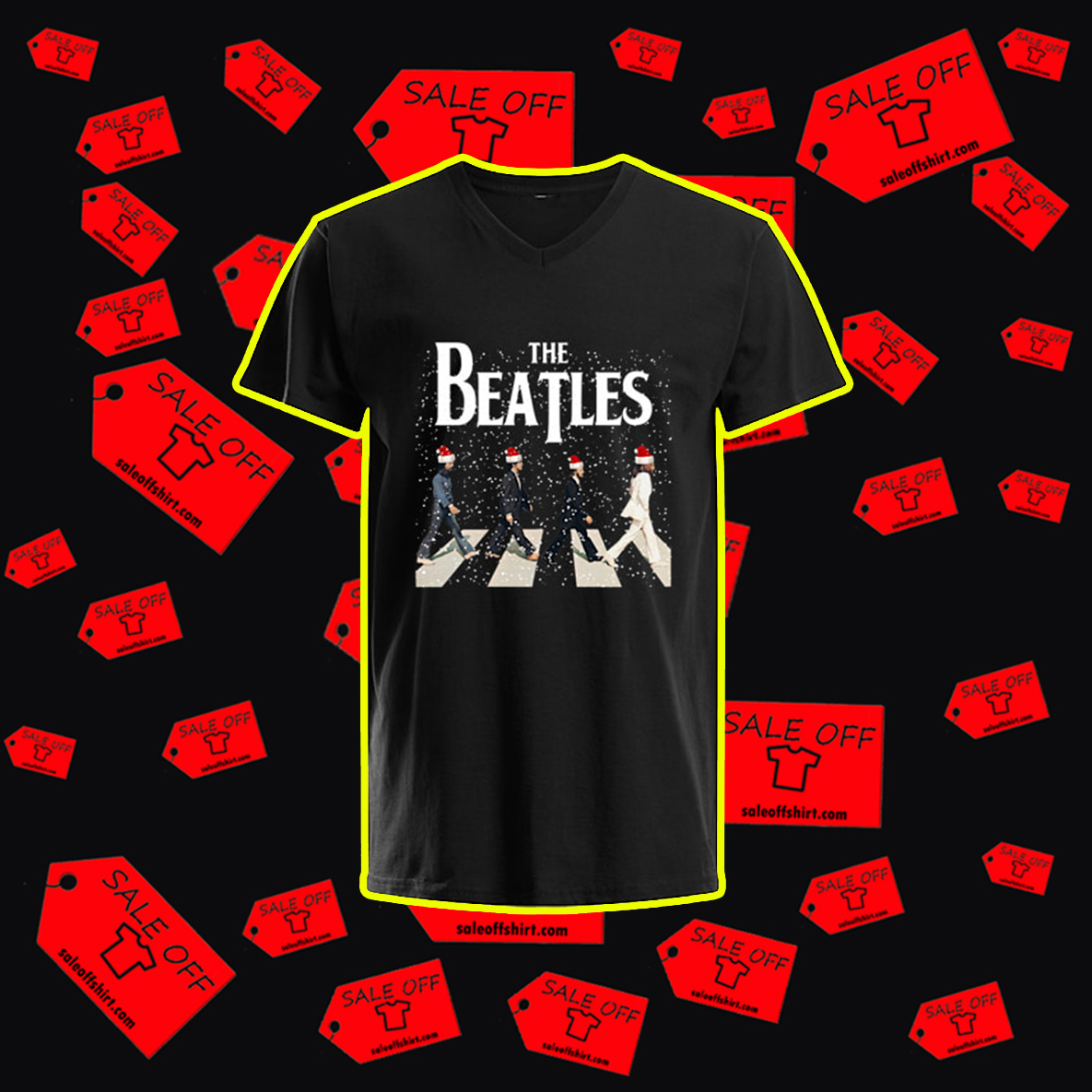 The Beatles Abbey Road Chrismtas v-neck