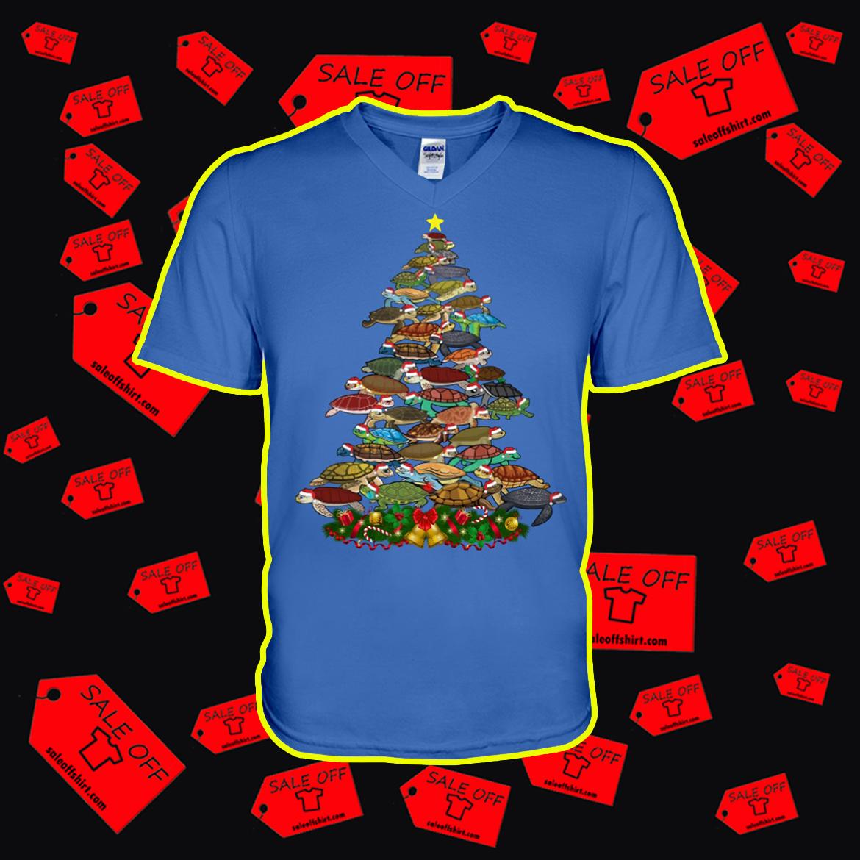 Turtle Christmas Tree v-neck