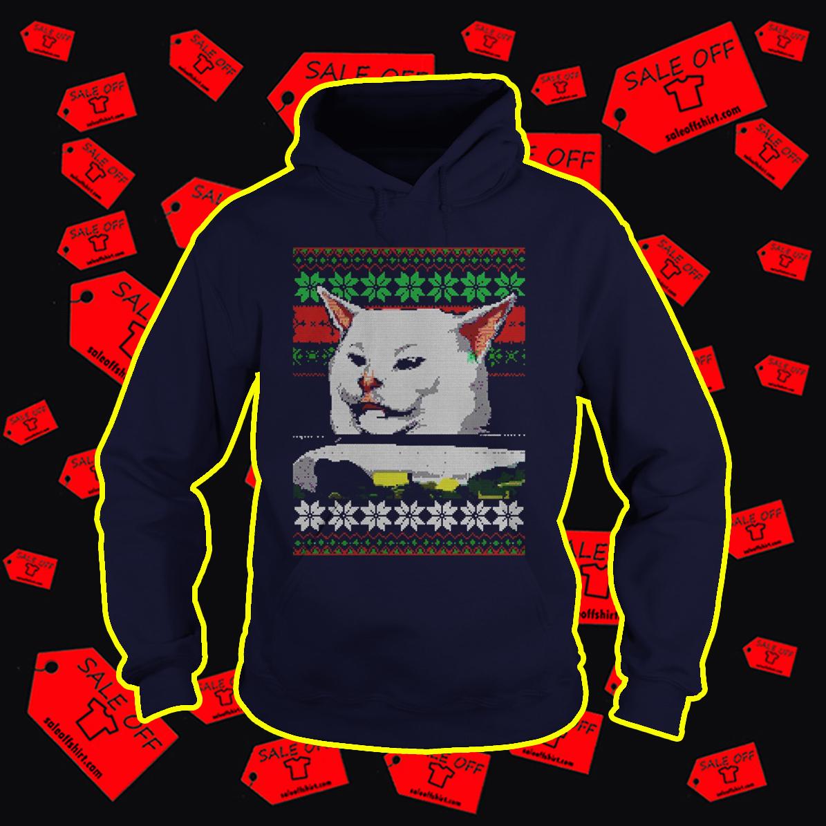 Woman Yelling At Cat Meme Ugly Christmas Hoodie