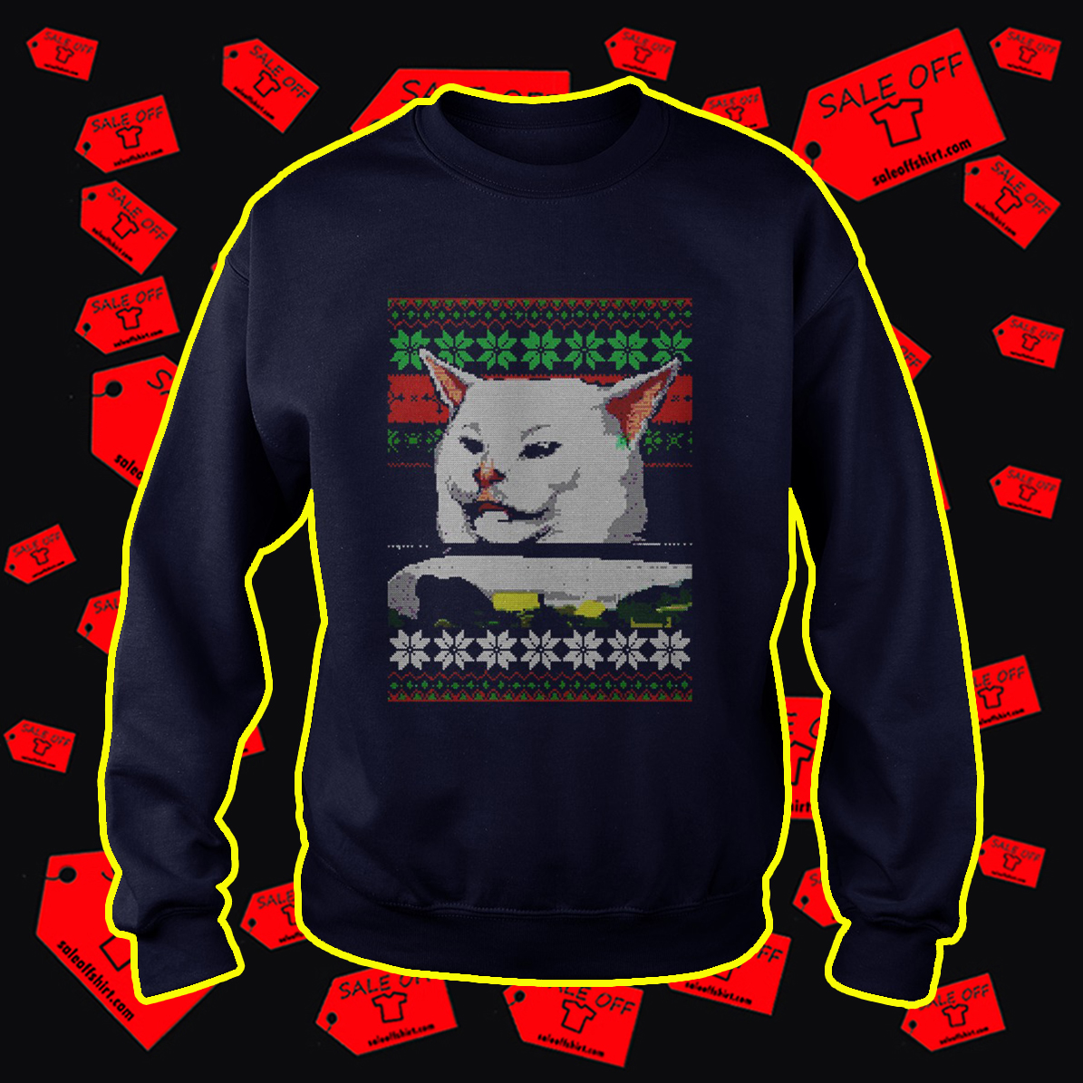 Woman Yelling At Cat Meme Ugly Christmas Sweater- navy