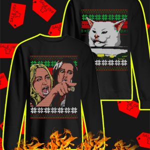 Woman yelling at cat meme christmas sweater