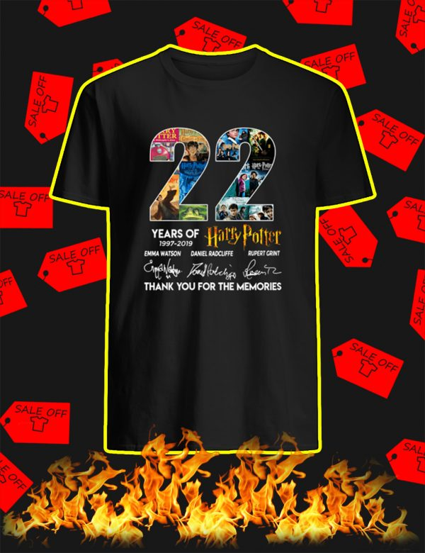 22 Years Of Harry Potter 1997 2019 Thank You For The Memories shirt