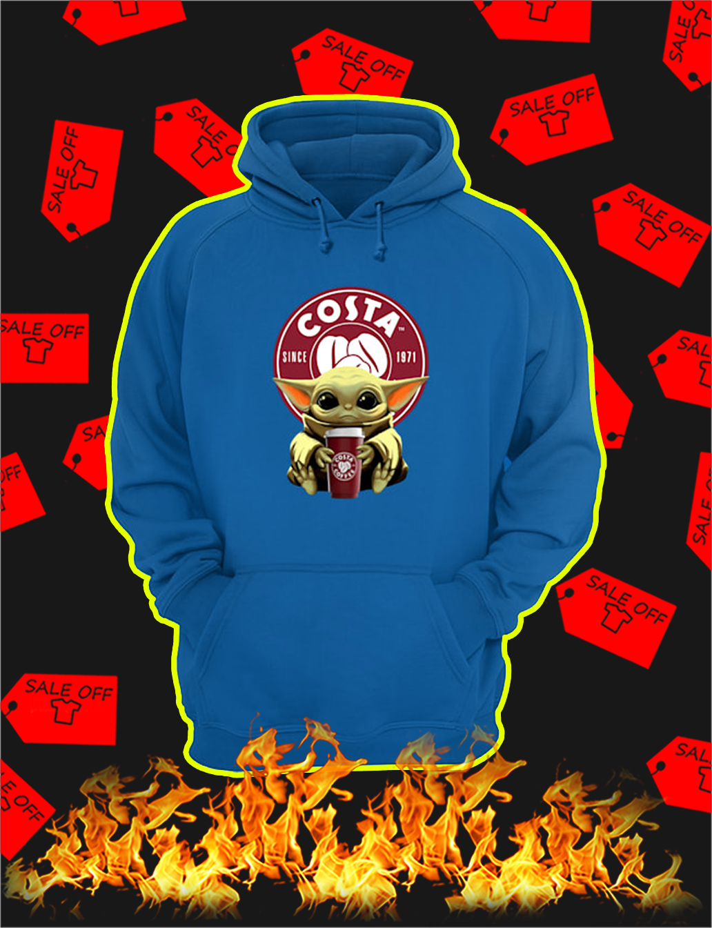 Baby Yoda Hug Costa Coffee hoodie
