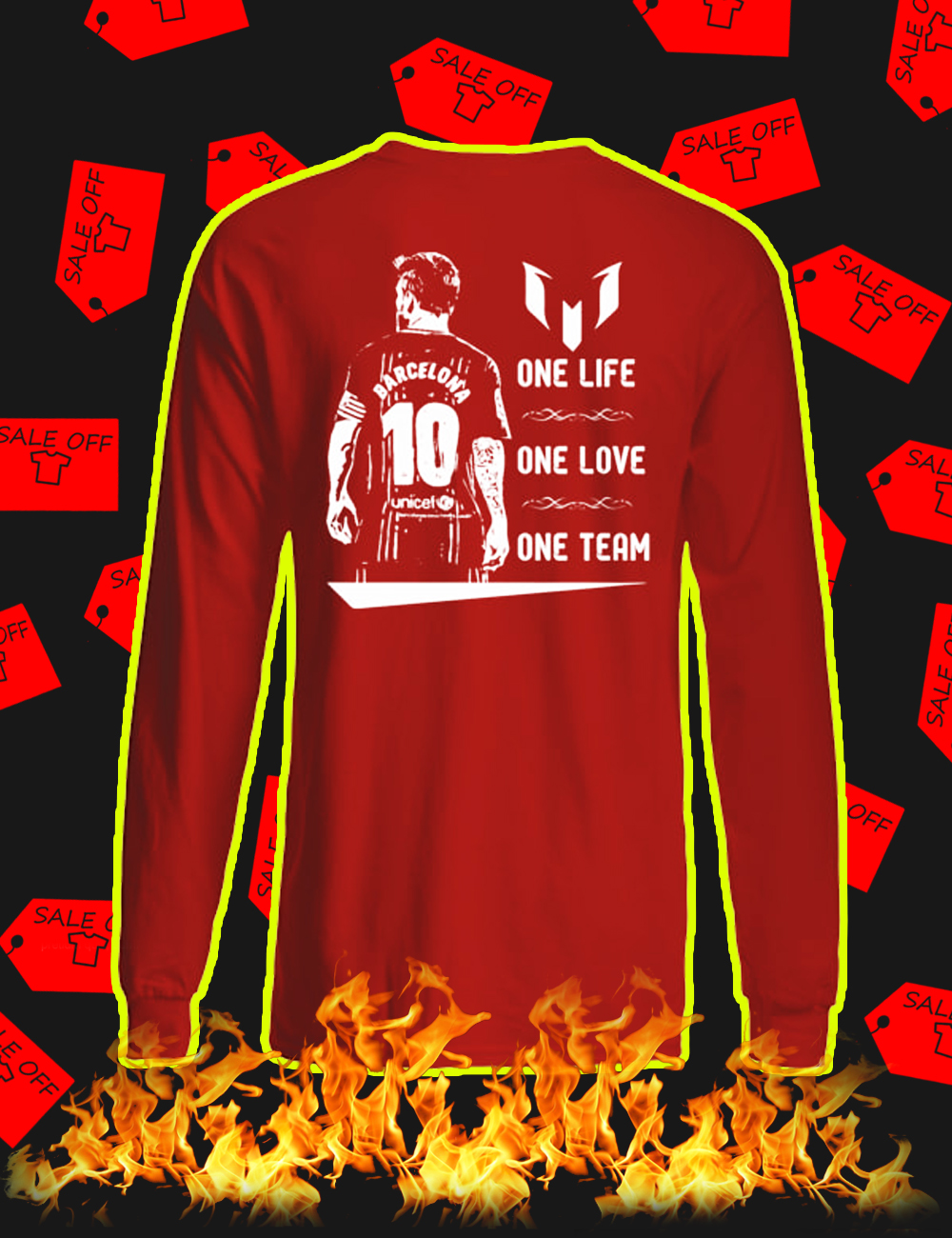 Barcelona Messi One Life One Love One Team Long sleeve tee