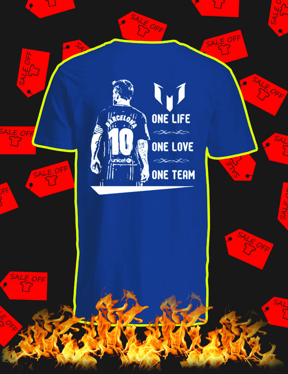 Barcelona Messi One Life One Love One Team v-neck