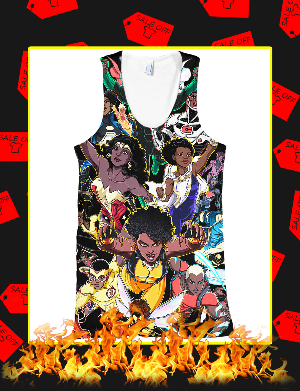 Black Women And Men Superheroes All Over Print 3d Tank top