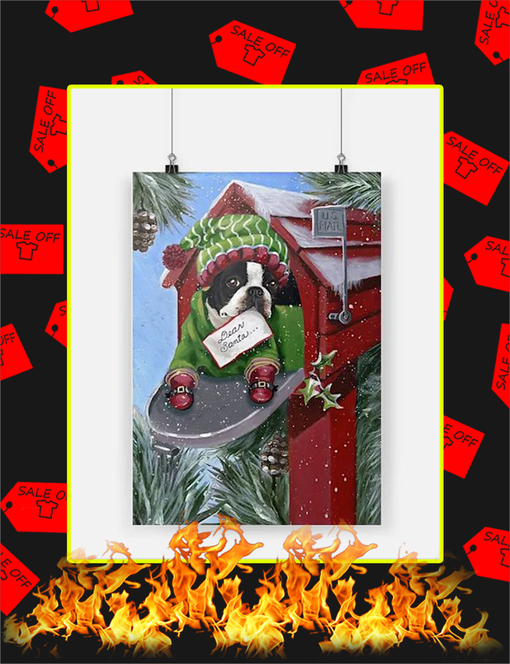 Boston Terrier Dear Santa Poster - A3