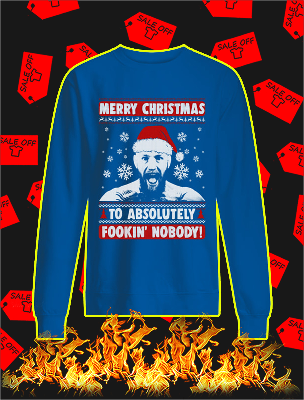 Conor McGregor Merry Christmas To Absolutely Fookin' Nobody Christmas Sweater- blue
