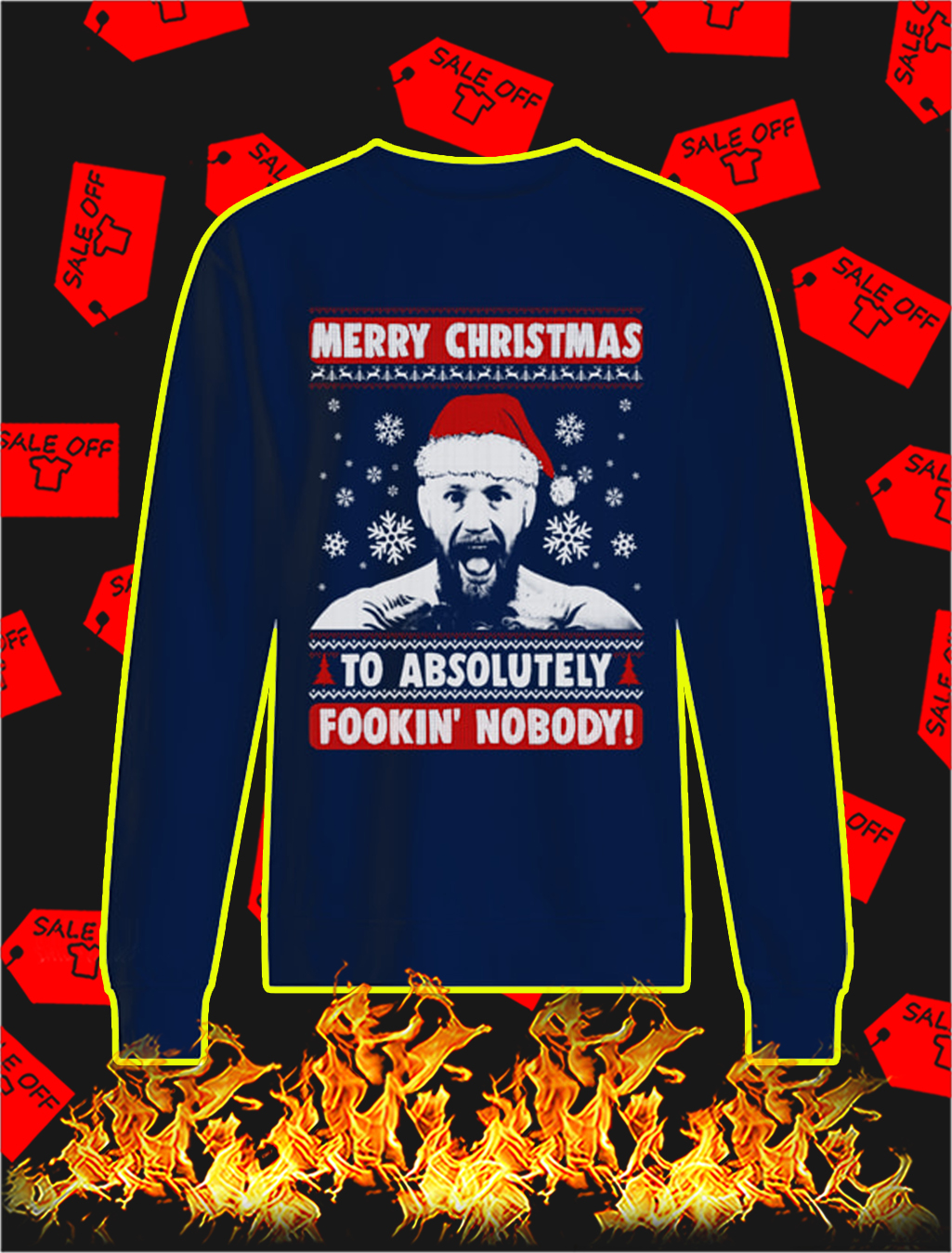 Conor McGregor Merry Christmas To Absolutely Fookin' Nobody Christmas Sweater- navy