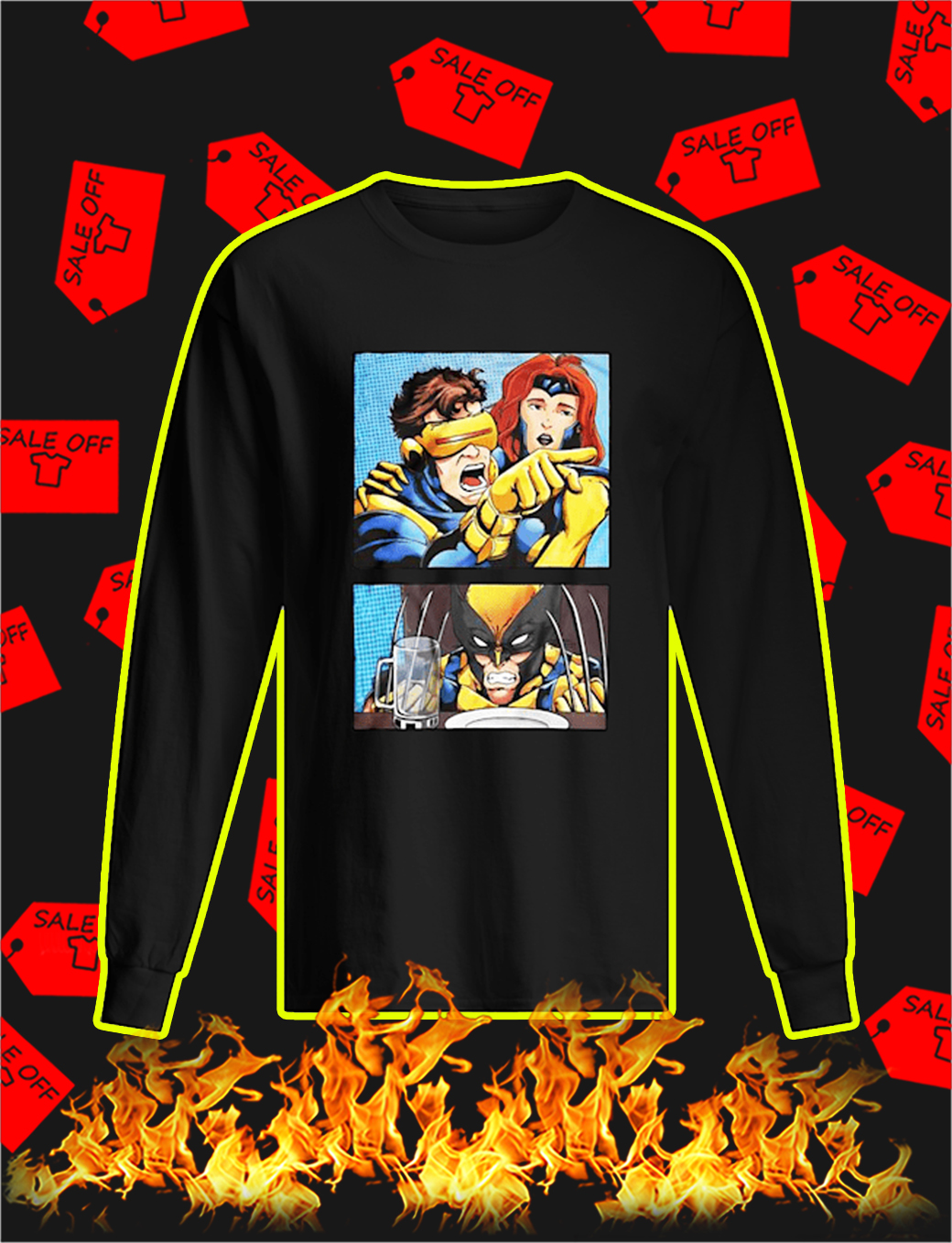 Cyclops Yelling at Wolverine longsleeve tee