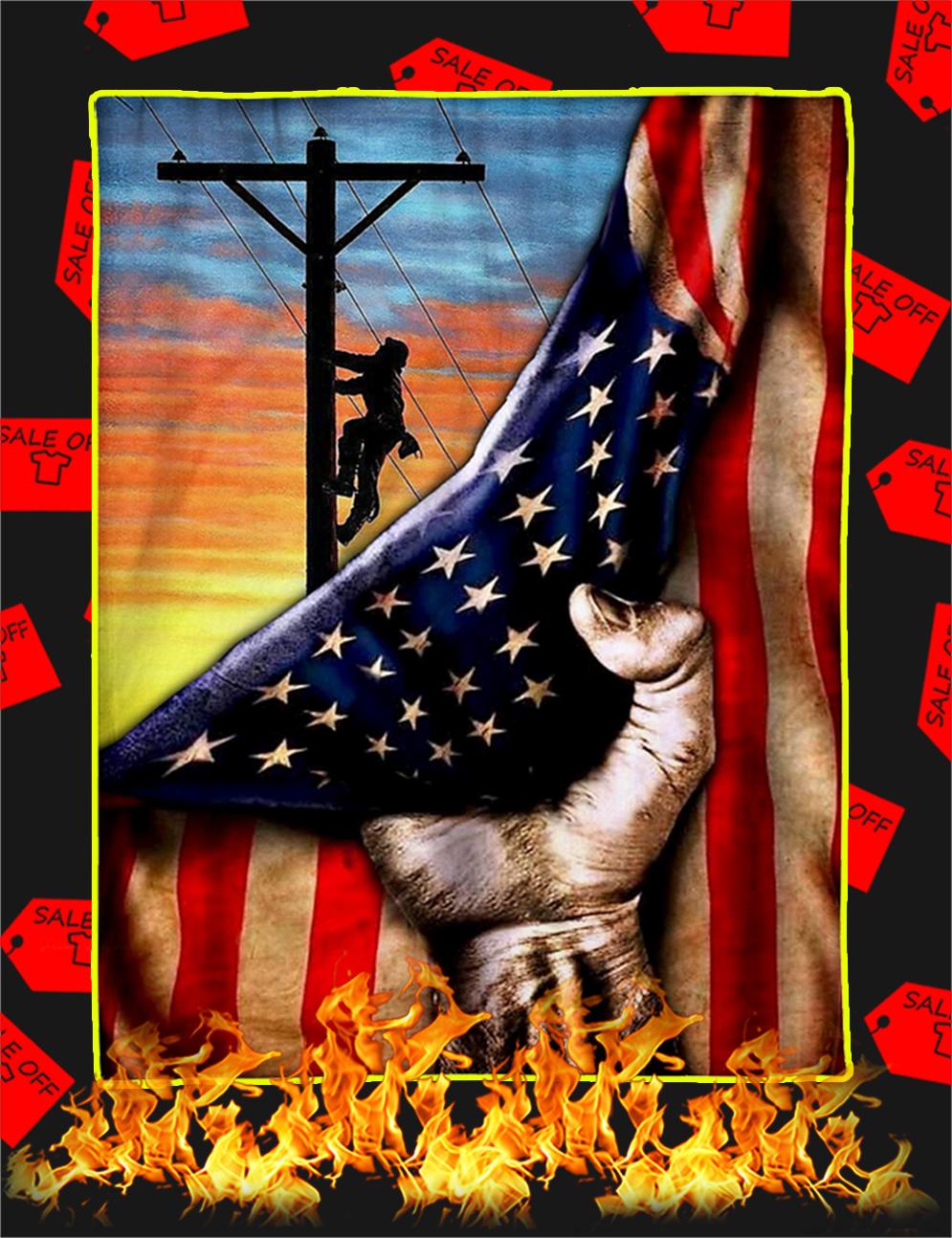 Electrician American Flag Blanket-xlarge
