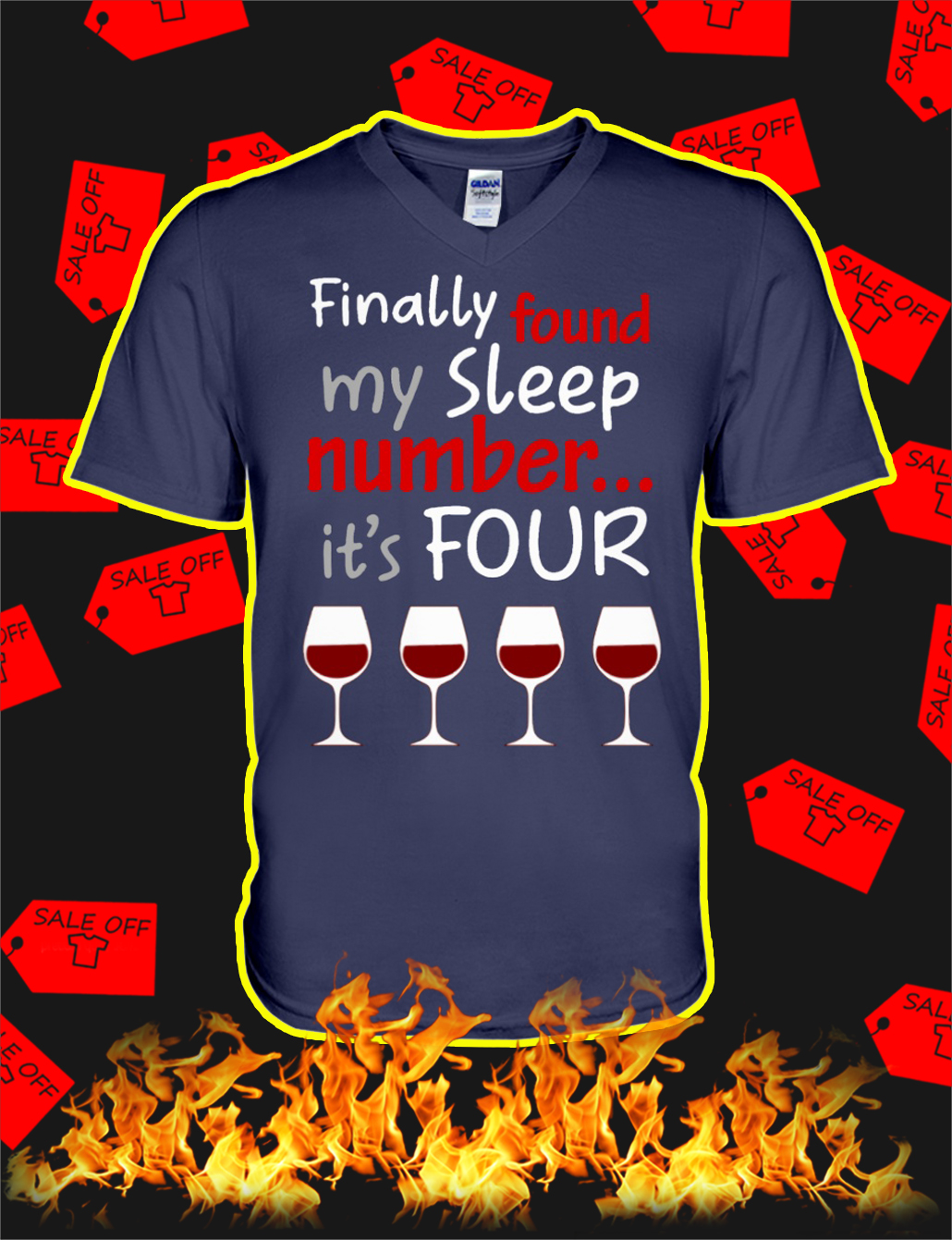 Finally Found My Sleep Number It's Four Wine v-neck
