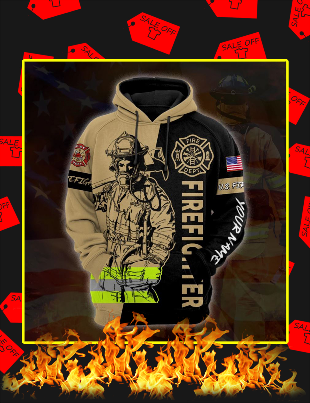 Firefighter Custom Personalized Name 3D Hoodie - front