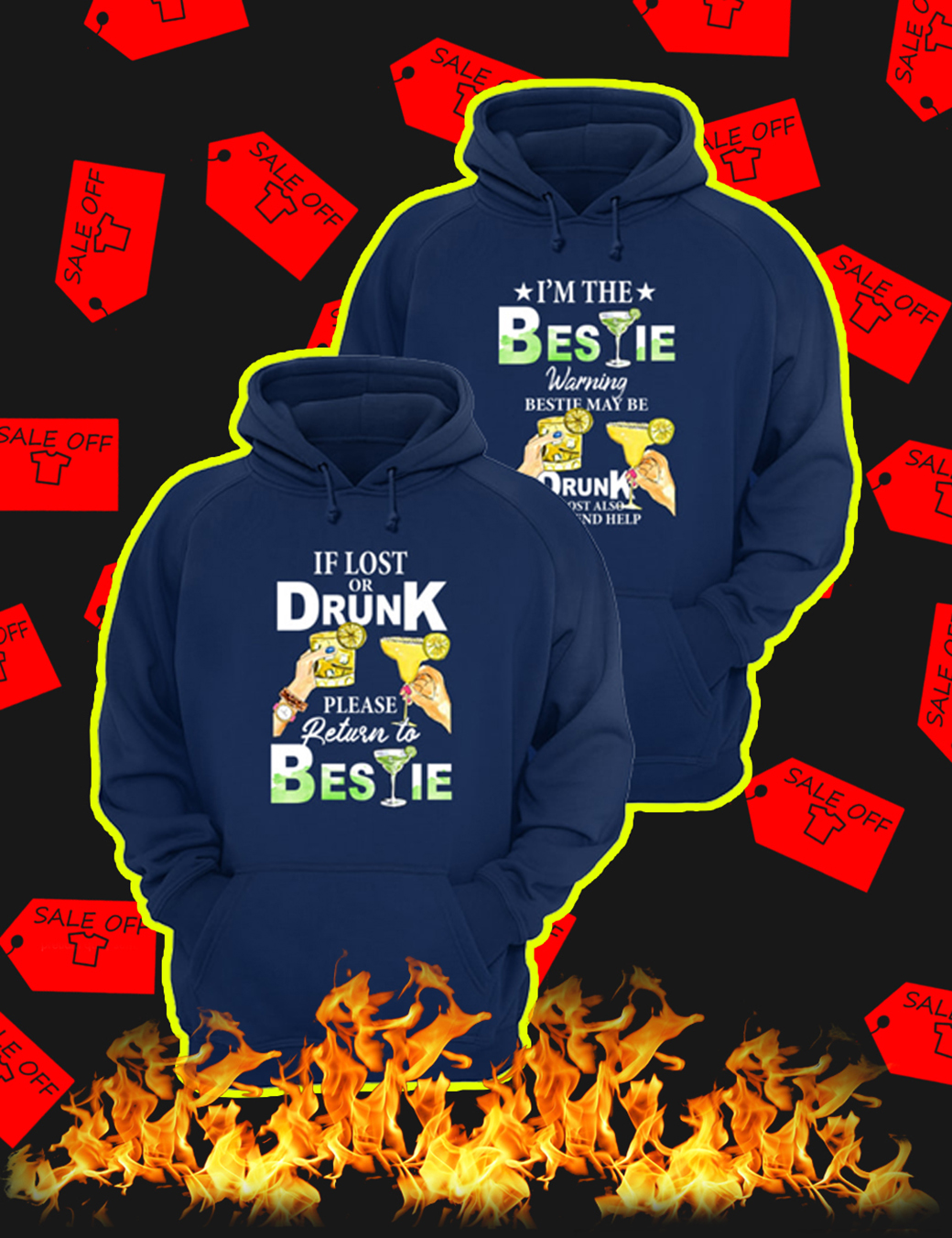 If Lost Or Drunk Please Return To Bestie – I'm The Bestie Warning Bestie May Be Drunk Navy Hoodie
