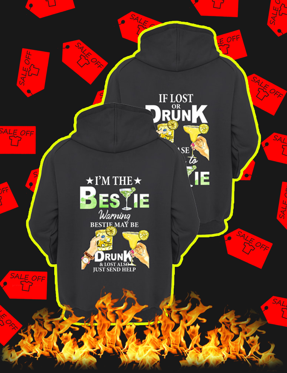 If Lost Or Drunk Please Return To Bestie Hoodie-back version