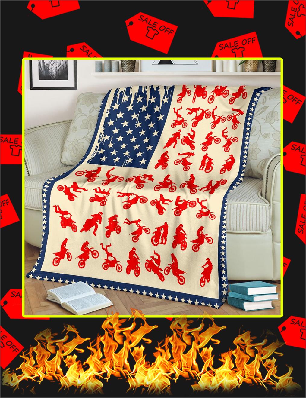 Motocross American Flag Blanket- large