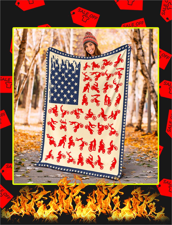 Motocross American Flag Blanket- x large