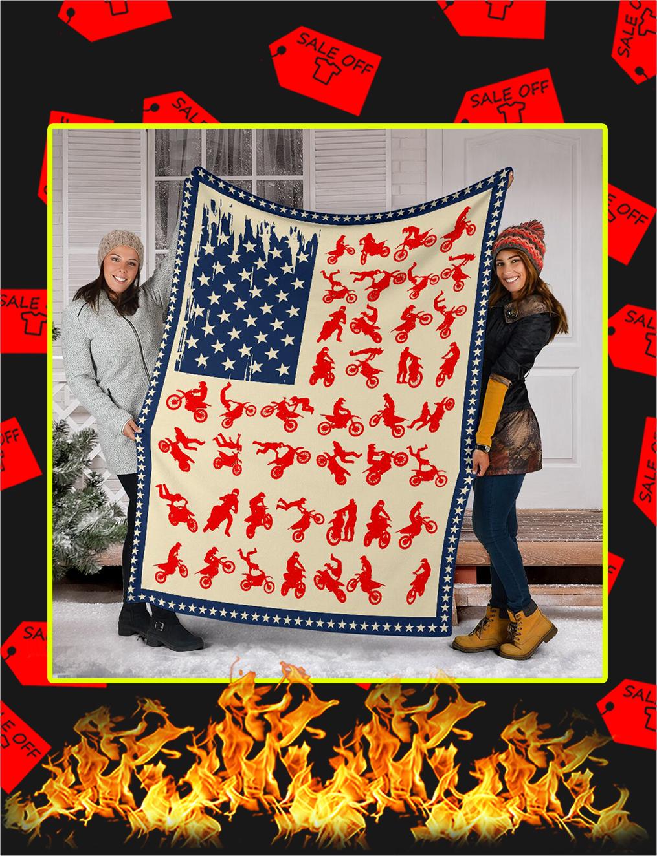 Motocross American Flag Blanket- youth