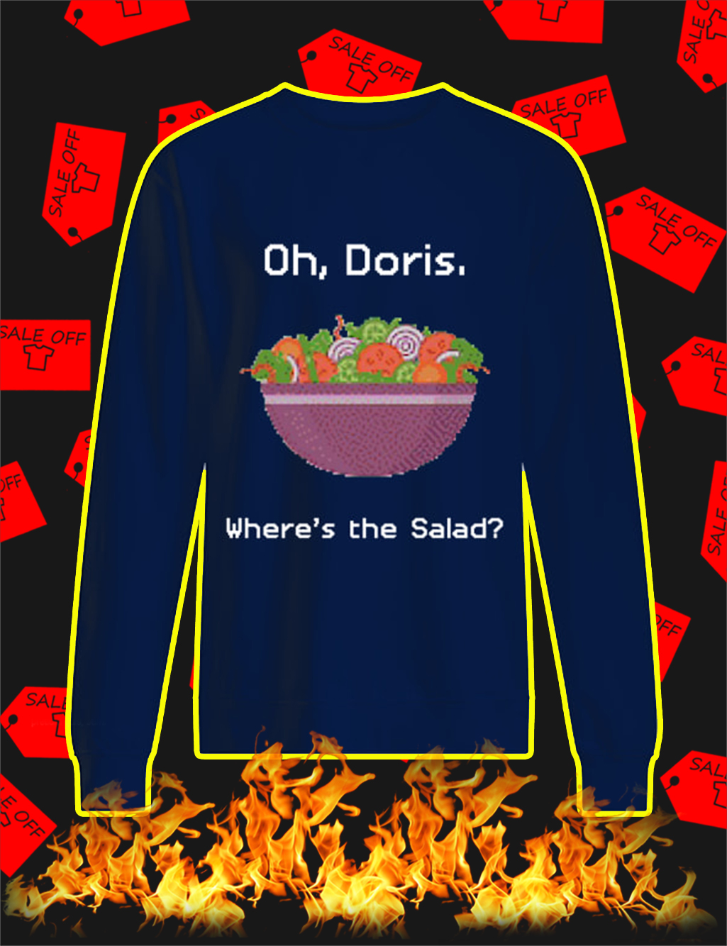 Oh Doris Where's The Salad Ugly Christmas Sweater- navy