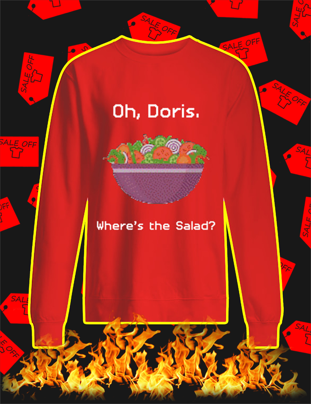 Oh Doris Where's The Salad Ugly Christmas Sweater- red