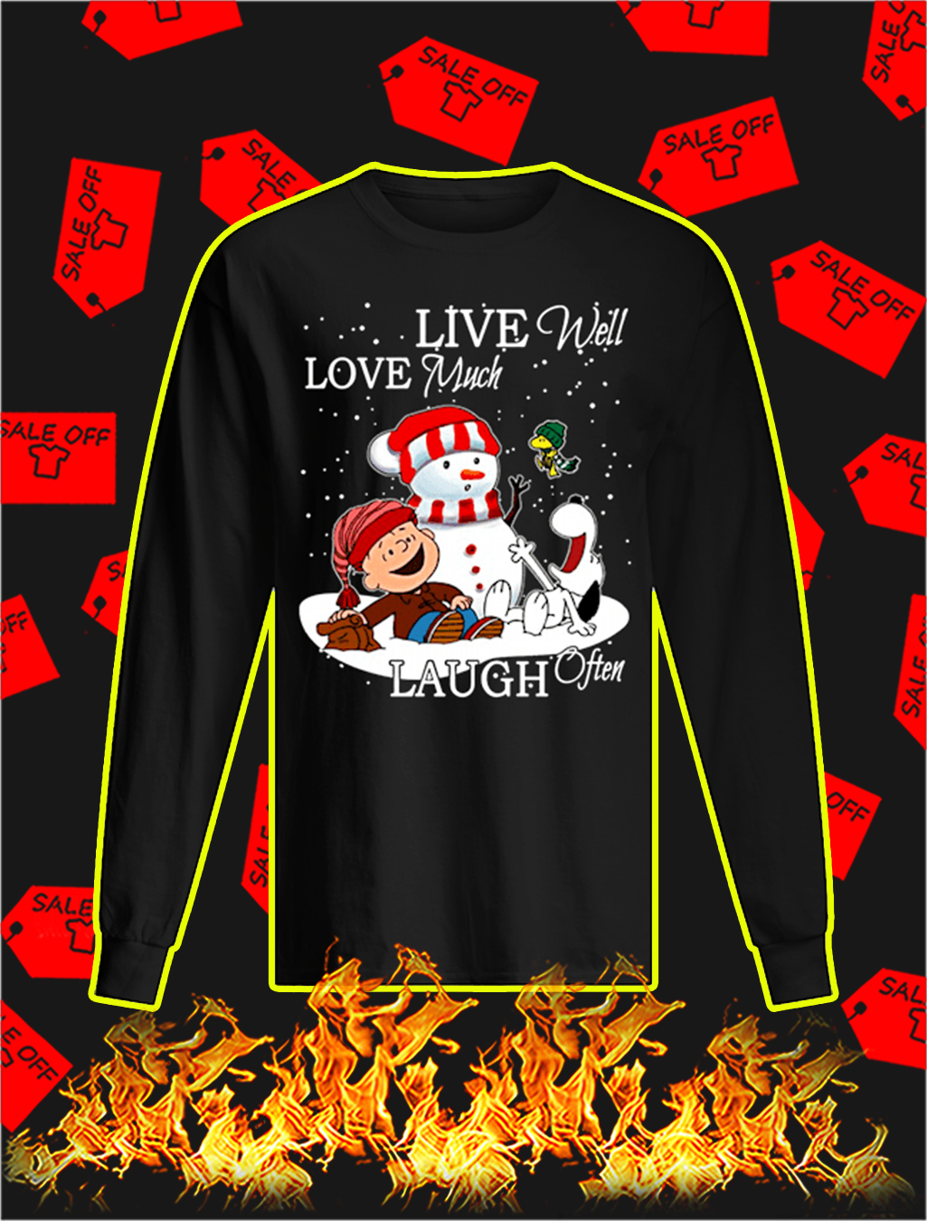 Peanuts Live Well Love Much Laugh Often Christmas longsleeve tee