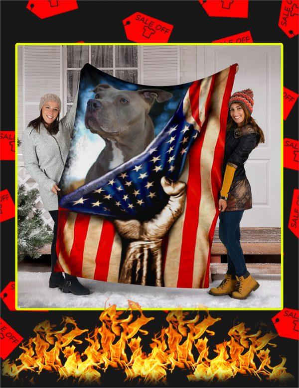Pitbull Behind American Flag Blanket