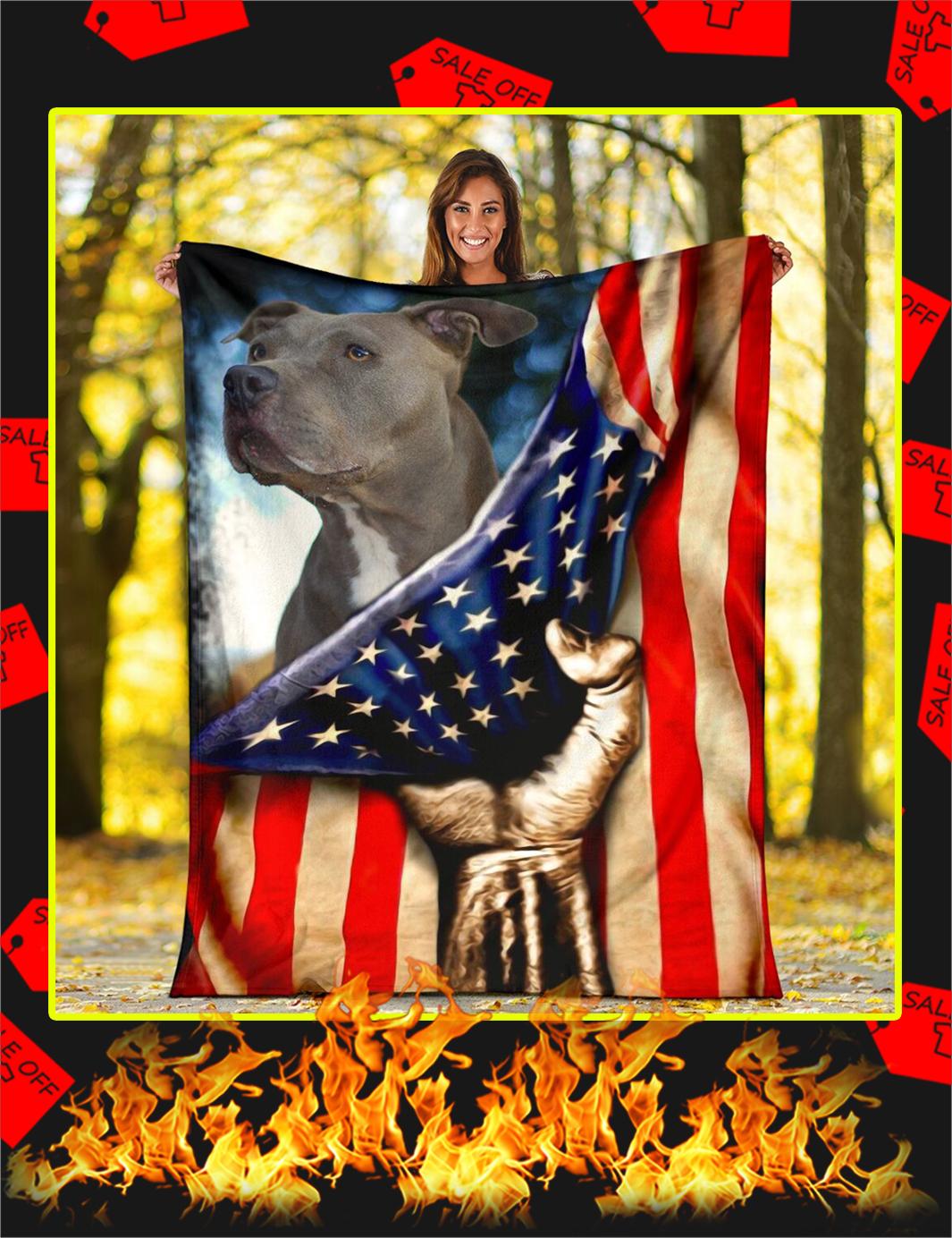Pitbull Behind American Flag Blanket-large