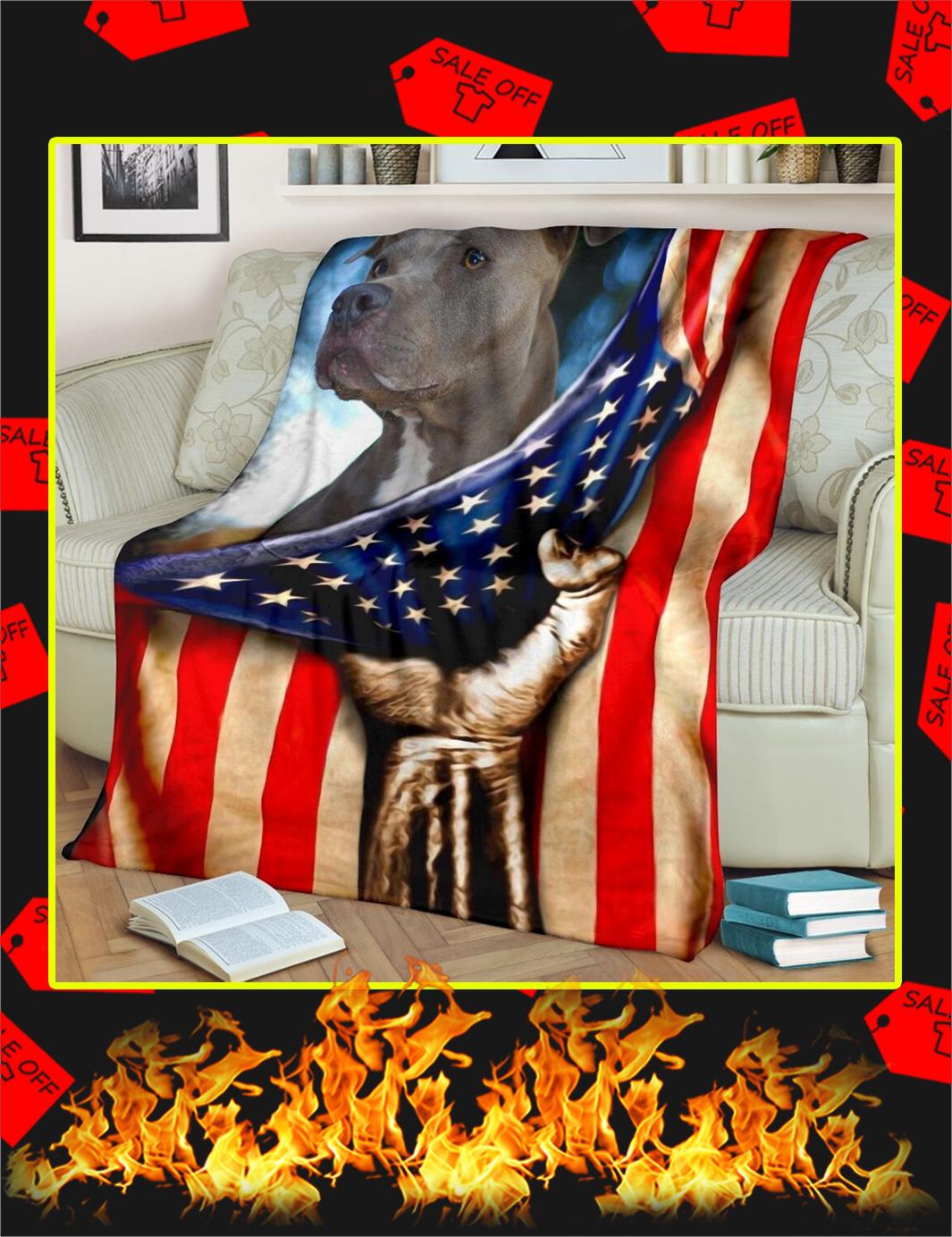 Pitbull Behind American Flag Blanket-xlarge