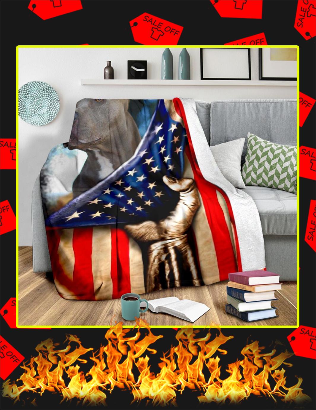 Pitbull Behind American Flag Blanket-youth