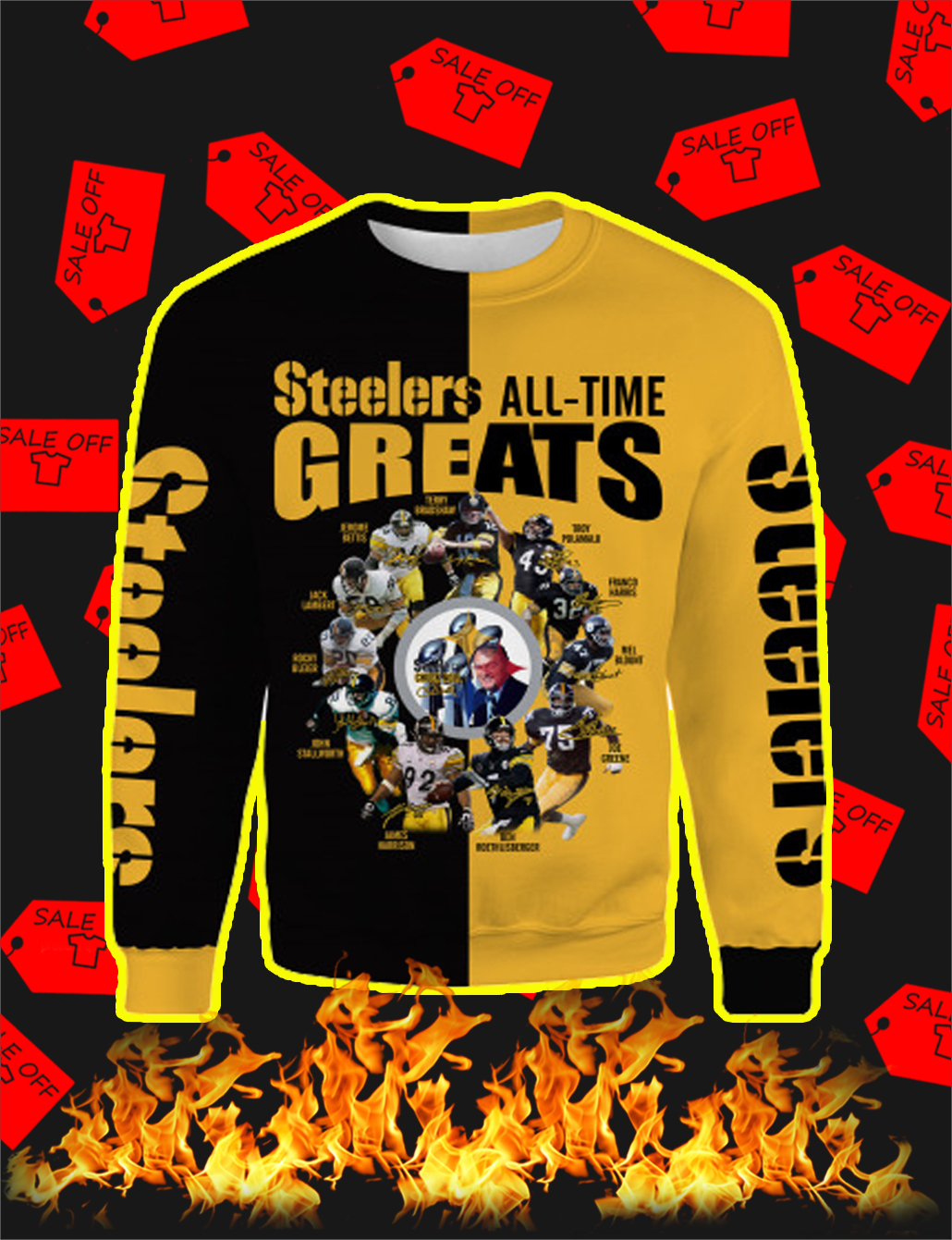 Pittsburgh Steelers All Time Greats Full All Over Print 3D Sweatshirt