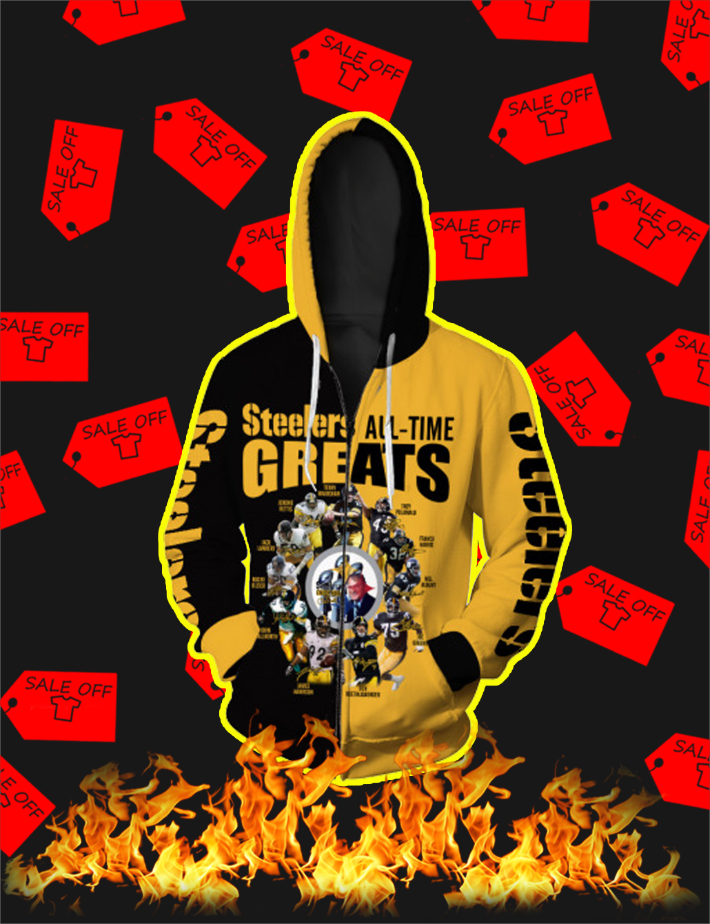 Pittsburgh Steelers All Time Greats Full All Over Print 3D Zip Hoodie