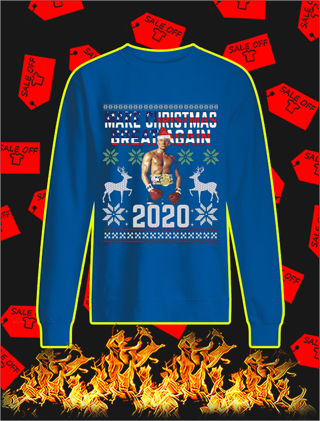 Rocky Trump Make Christmas Great Again 2020 Sweater- blue