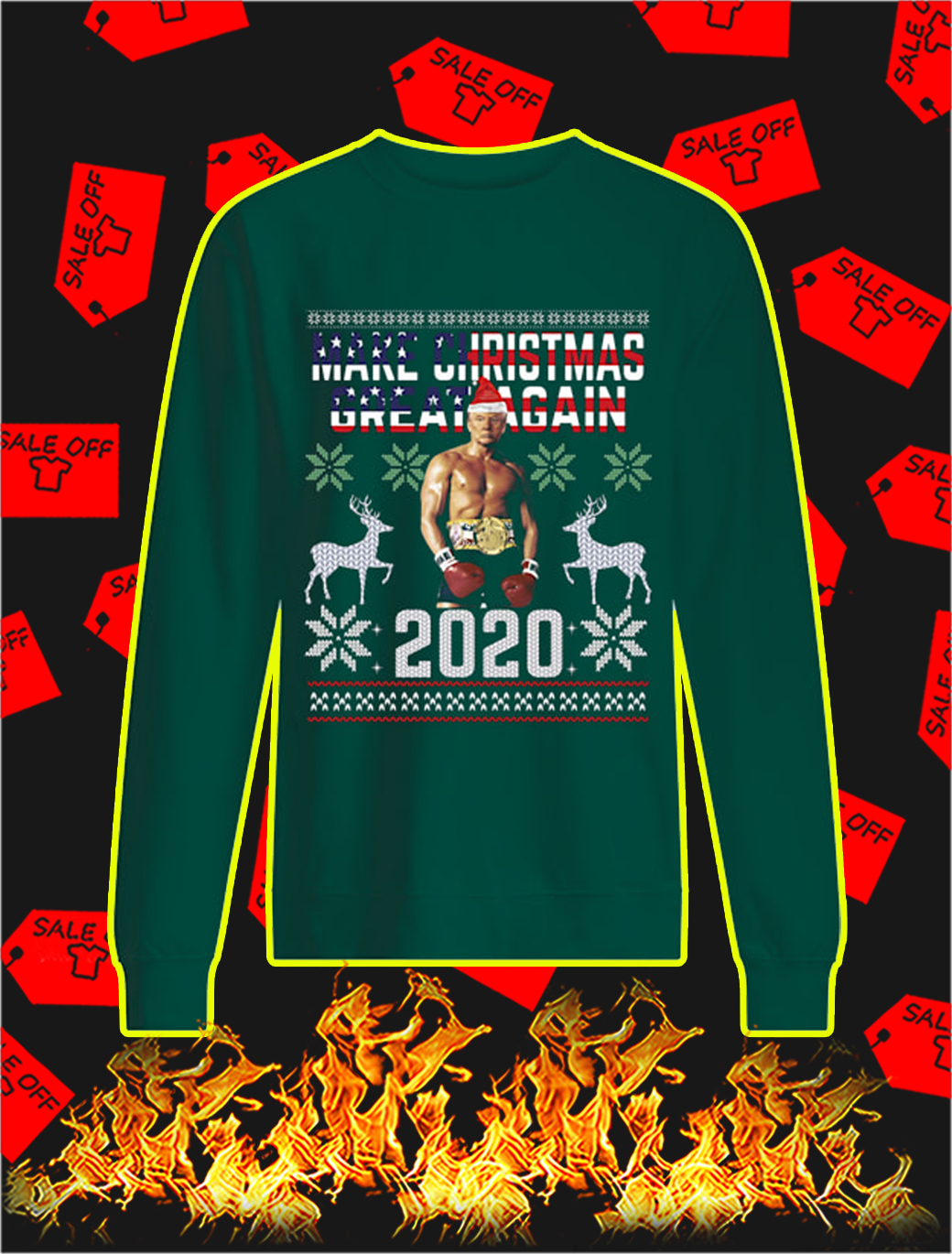 Rocky Trump Make Christmas Great Again 2020 Sweater- green