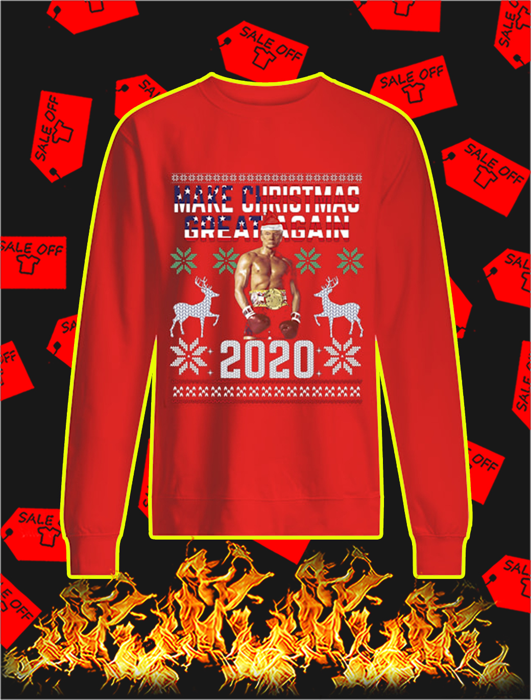 Rocky Trump Make Christmas Great Again 2020 Sweater- red