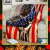 Rottweiler Behind American Flag Blanket
