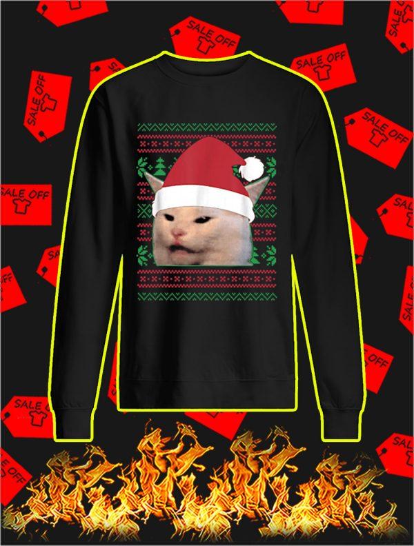 Santa Cat Woman Yelling at a Cat Meme Ugly Christmas Sweater