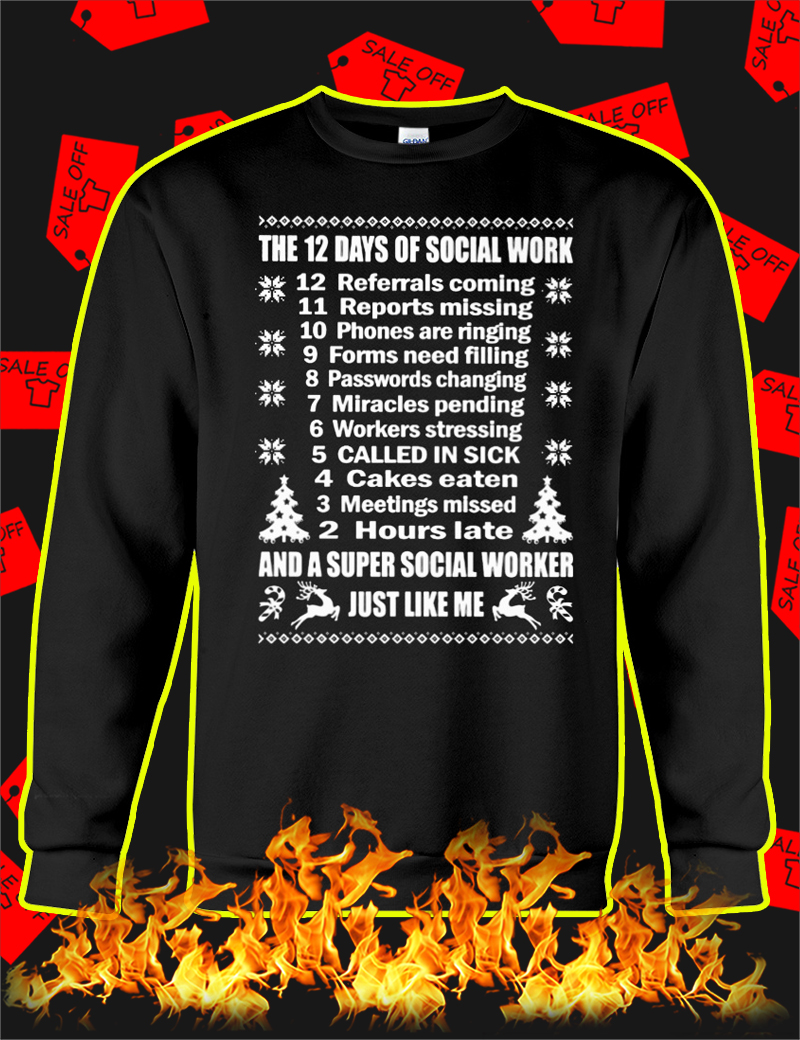 The 12 Days Of Social Work Christmas Jumper-black